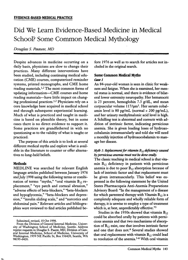 Did We Learn Evidence-Based Medicine in Medical School? Some Common