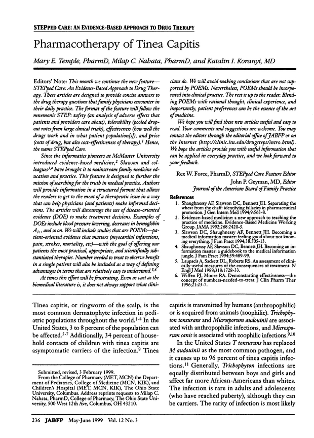 Pharmacotherapy of Tinea Capitis   American Board of Family Medicine